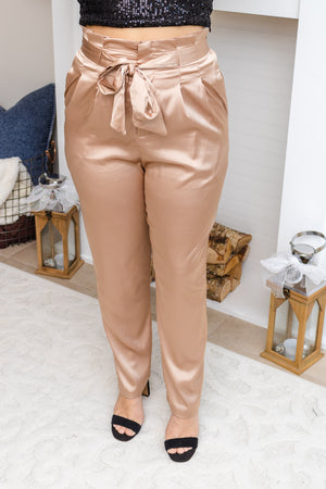 Gold Satin Paperbag Pants