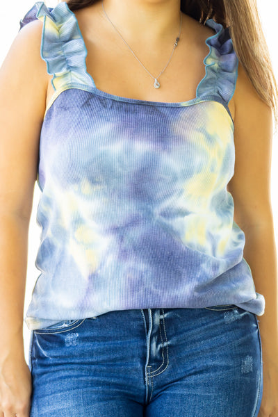 *LAST ONE* Ruffled Strap Tie Dye Top