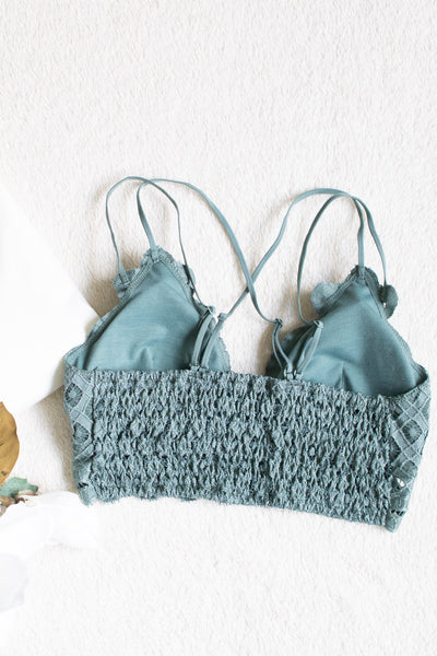 Scalloped Lace Bralette (teal grey) - Calico's Boutique
