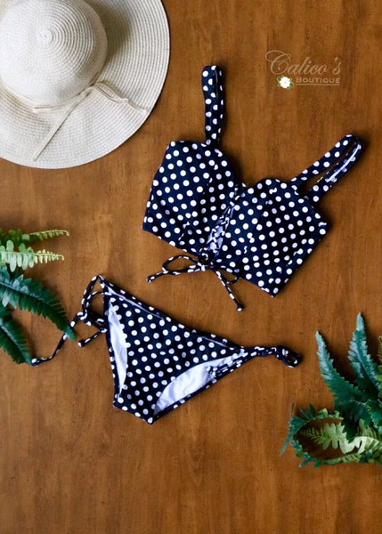 Polka Dot Bikini (black) - Calico's Boutique
