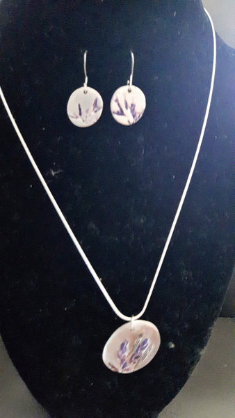 Lavender Pendent and matching earrings