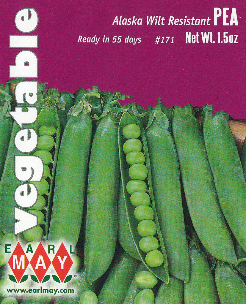 alaskan peas Typically used for canning, alaska pea seeds will have wilt-resistant vines that grow to 26 in height pods produced are 2-3/4 long, smooth and blunt average maturation period is 54 days.