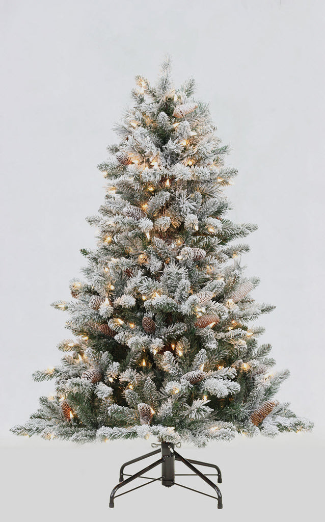 4.5FT Flocked Birmingham Fir with Sure Lit Lights - Ship to Store - Pickup In Store Only