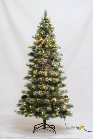 7.5FT Flocked Slim Schedectady Fir With LED Lights - Ship to Store - Pickup In Store Only