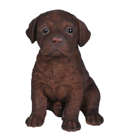 Sitting Chocolate Labrador Puppy Statue
