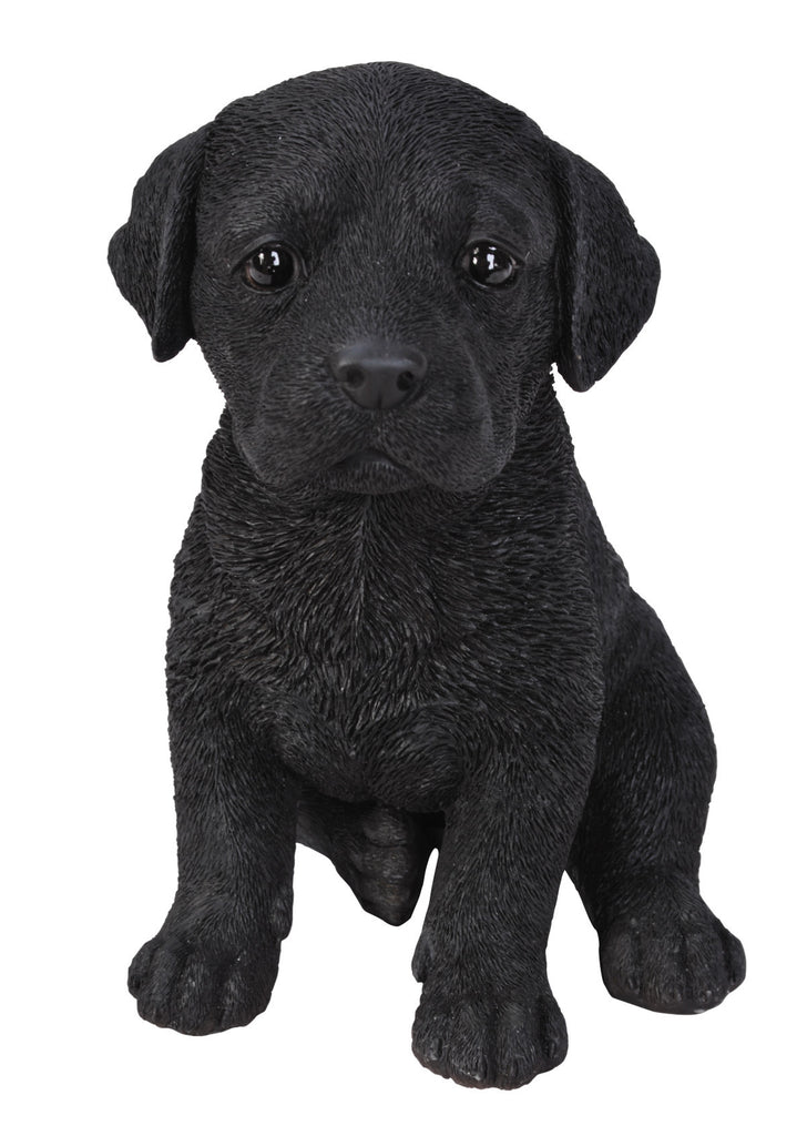 Sitting Black Labrador Puppy Statue