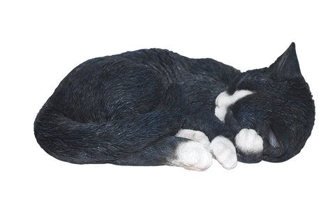 Sleeping Black and White Cat Statue