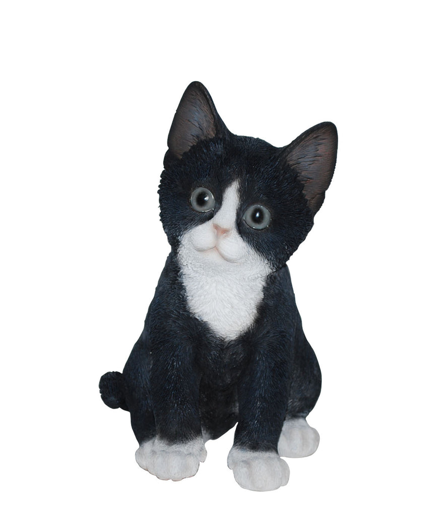 Sitting Black and White Kitten Statue