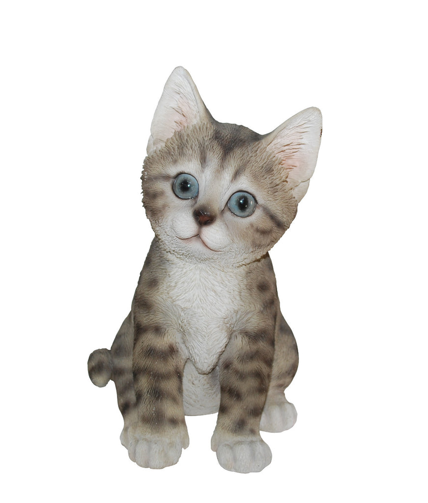 Sitting Grey and White Tabby Kitten Statue