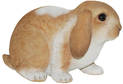 Sitting Brown and White Baby Lop Rabbit Statue