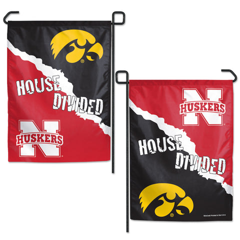 Nebraska/Iowa House Divided Garden Flag