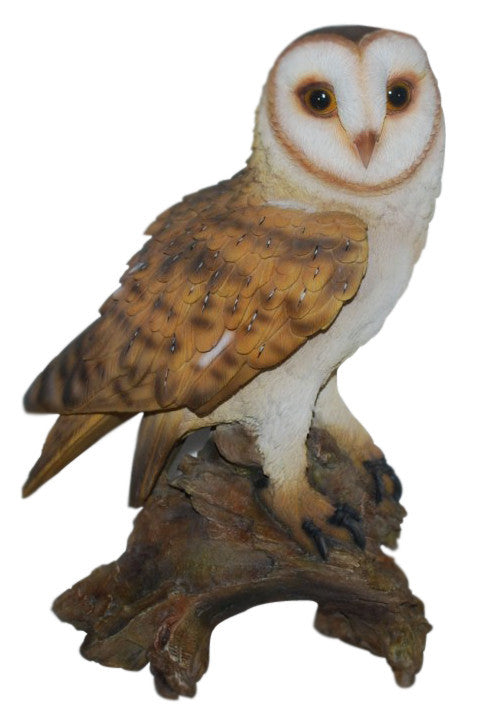 Perching Barn Owl Statue