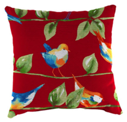 Throw Pillow - Curious Bird Red