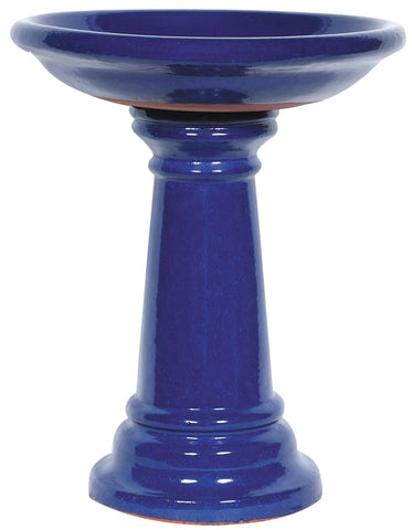 Cobalt Blue Deep Bowl Birdbath Set - Ship to Store - Pickup In Store Only