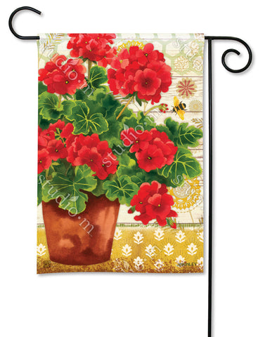 Garden Flag - Potted Geranium