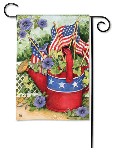 Garden Flag - Patriotic Watering Can