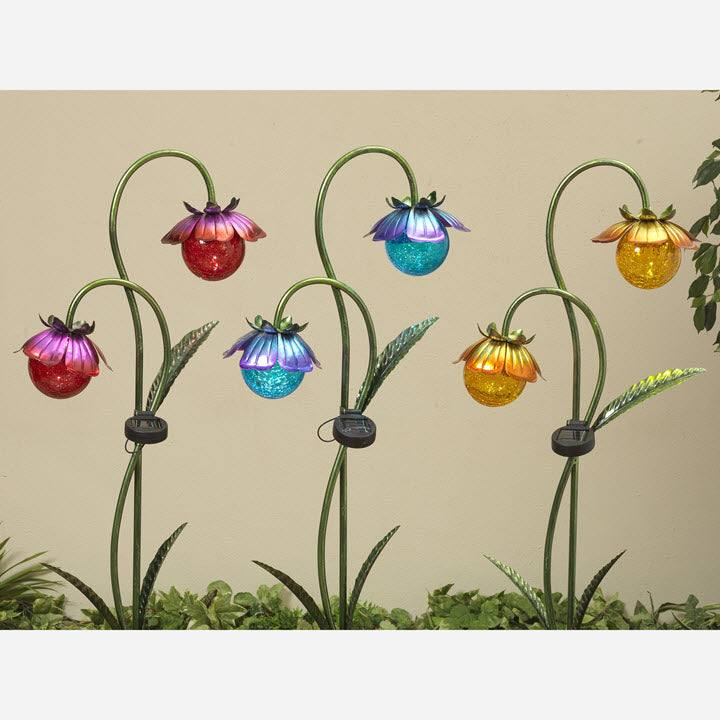 Solar Double Flower Crackle Glass Stake