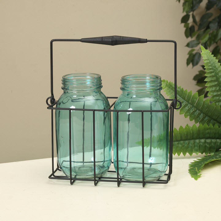 Wire Basket with Blue Glass Jars