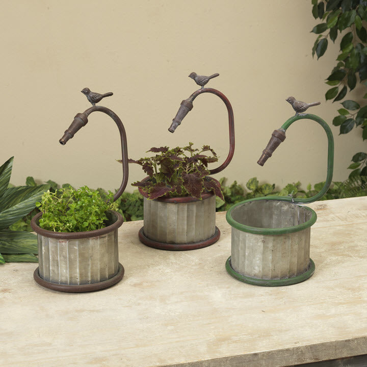 Metal Faucet Planter with Birds