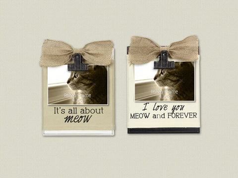 4x6 Cat Photo Frame with Bow
