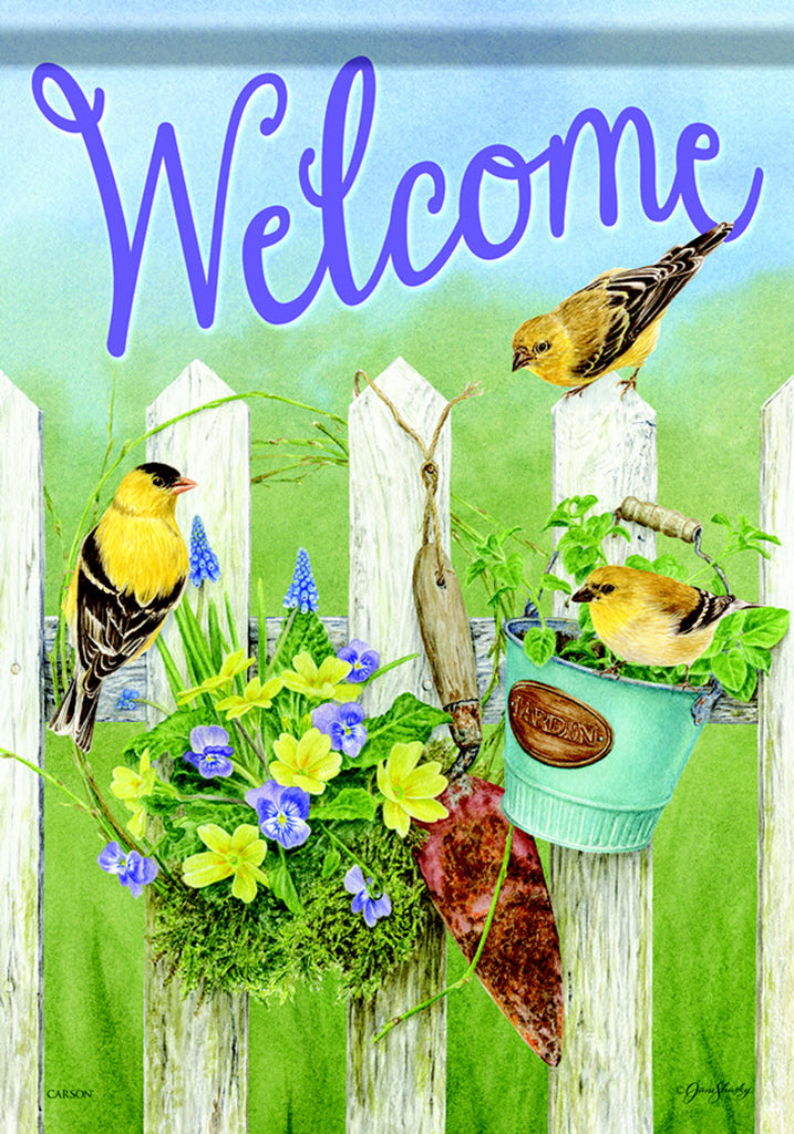 Garden Flag Welcome with Finch on Fence