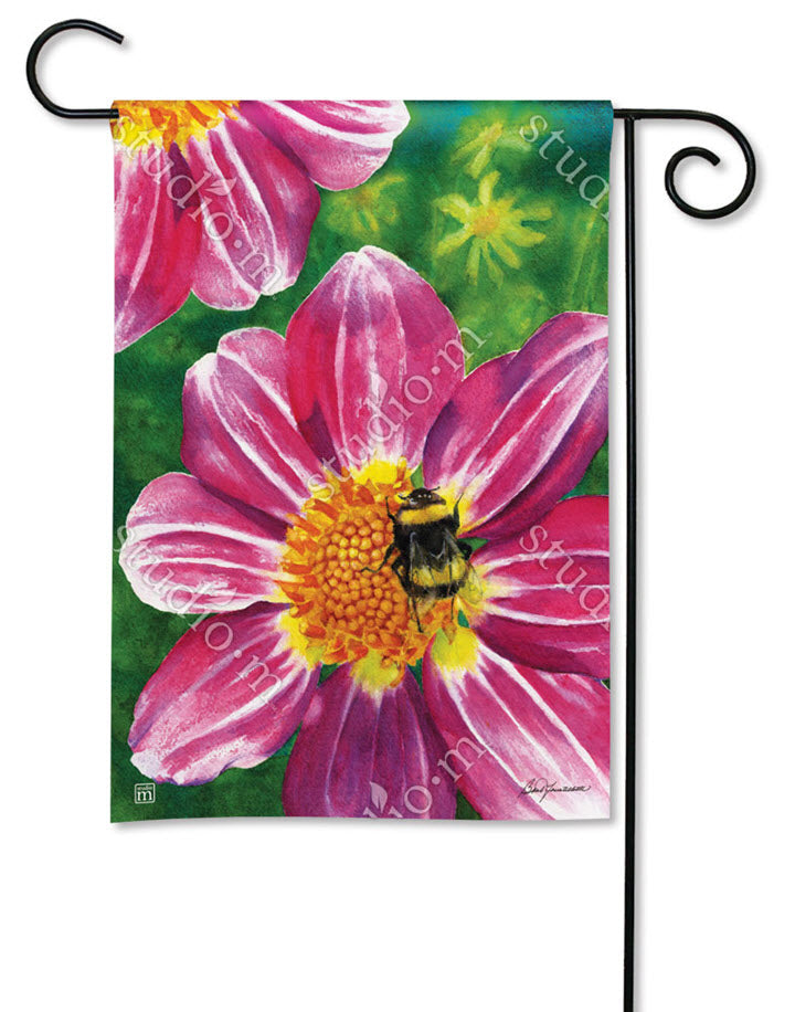 Pink Flower with Bee Garden Flag