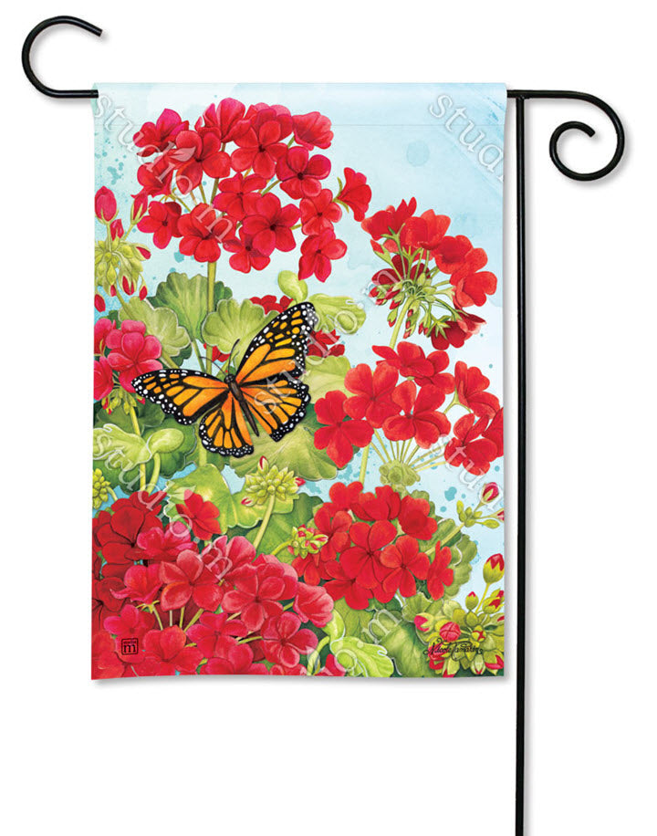 Monarch Red Geranium Garden Flag