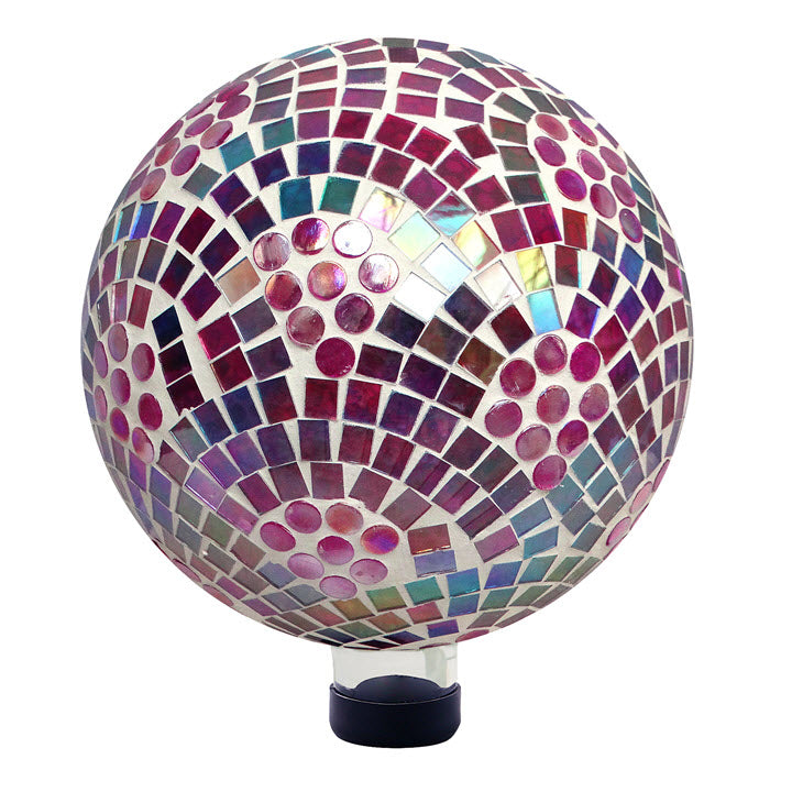 Gazing Ball-Pink Irridescent Mosaic - Ship to Store - Pickup In Store Only
