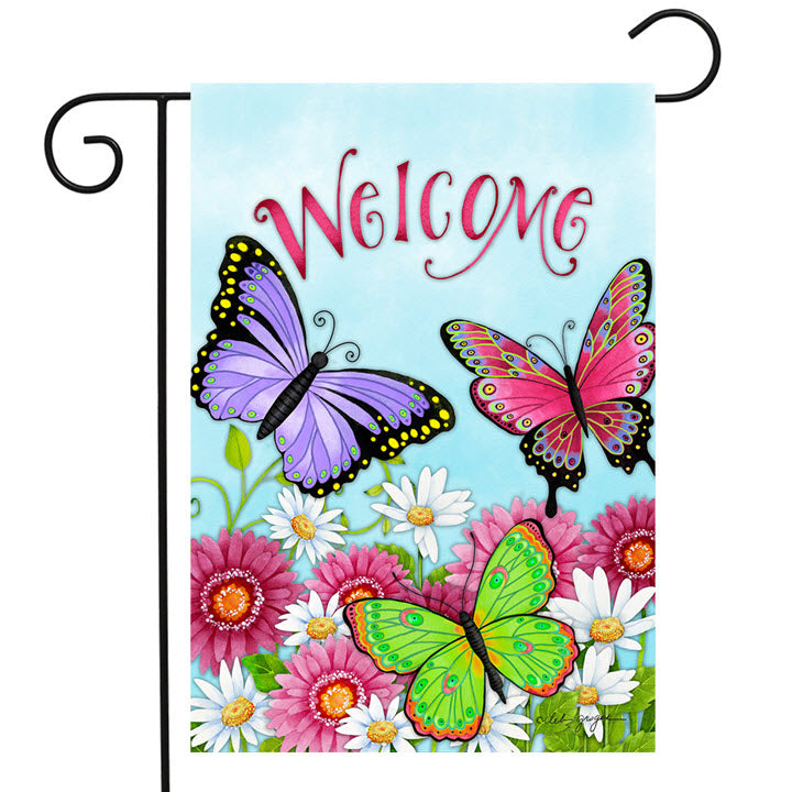 Garden Flag - Butterfly Welcome