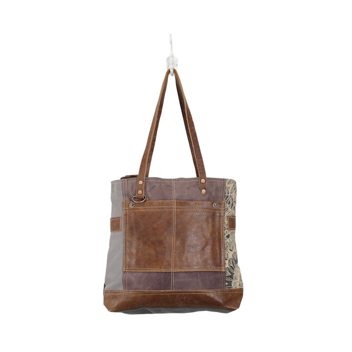 Canvas Tote - Side Floral Leather