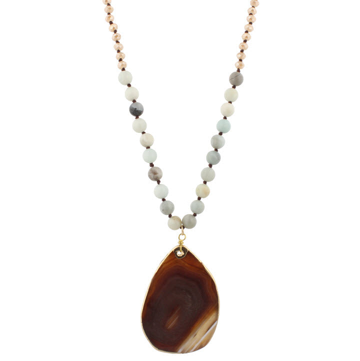 Necklace-Amazonite with Brown Agate