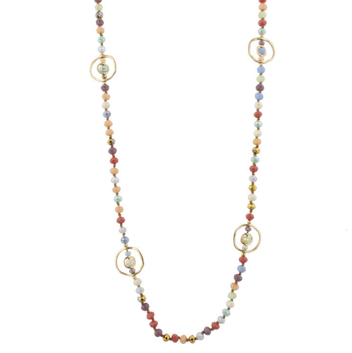 Necklace-Multi Bead Gold Circle Stations
