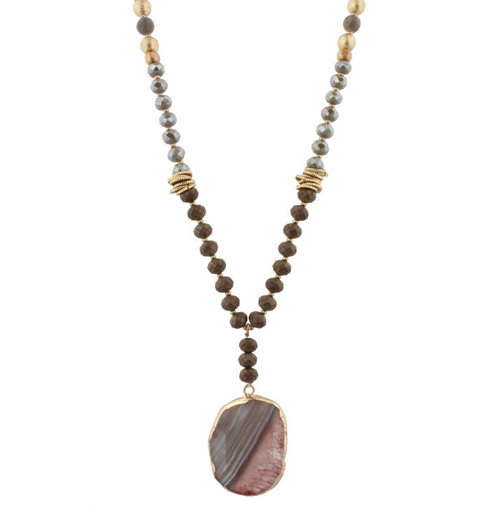 Necklace-Bronze Grey Beaded with Brown Natural Stone