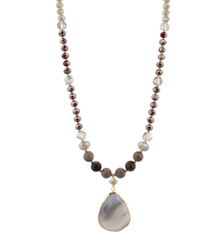 Necklace-Wine Beaded with Grey Stone