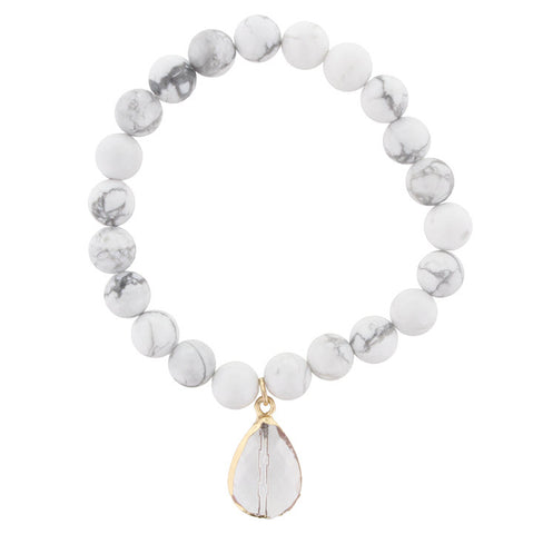 Bracelet-Howlite White Beaded with Teardrop