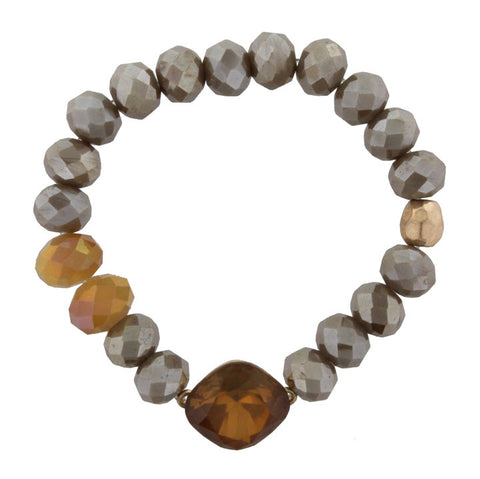Bracelet-Brown Stone Champagne Beads