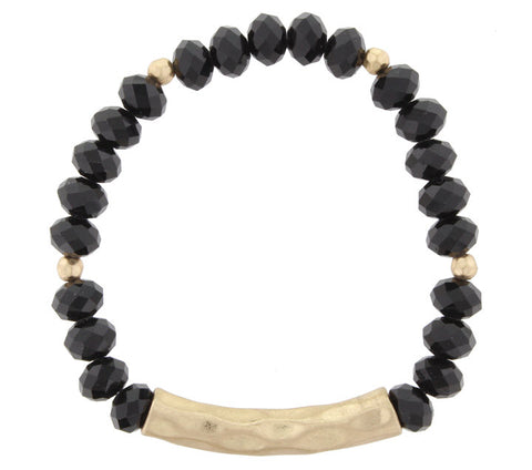 Bracelet-Black Bead Gold Bar
