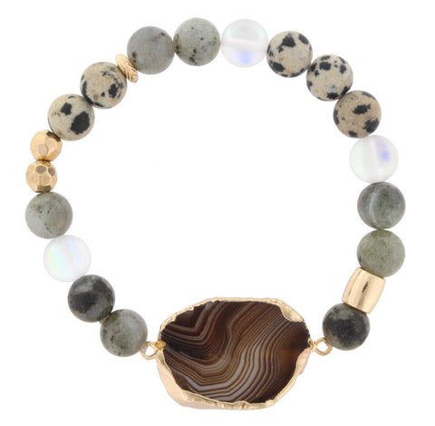 Bracelet-Brown Agate Multi Bead