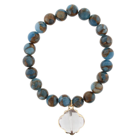 Bracelet-Blue & Bronze Marble Beads with Ornate Crystal