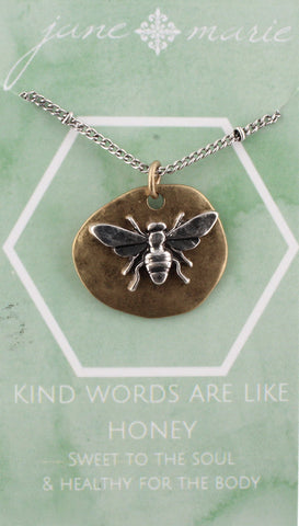 Necklace-Bee Two Tone Carded