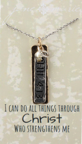 Necklace-Philippians 4:13 Two Tone Carded