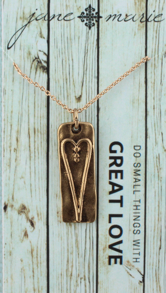 Necklace-Long Heart Gold Carded