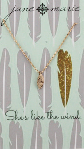 Necklace-Feather Gold Carded
