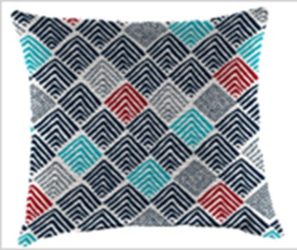 Throw Pillow - Blue & Red Diamond