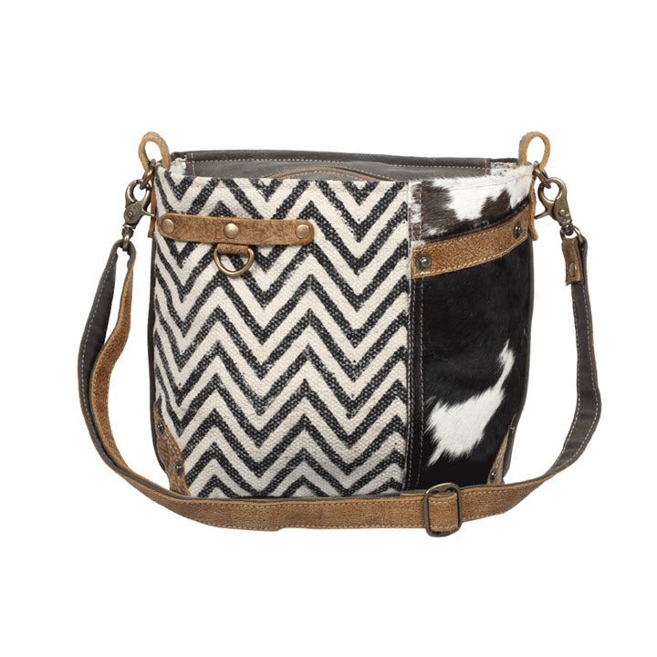 Shoulder Bag - Chevron with Hair On