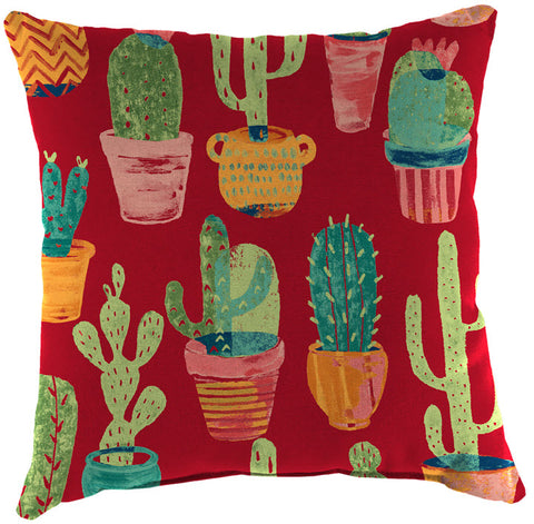 Throw Pillow - Red with Cactus