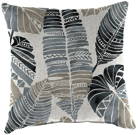Throw Pillow - Black Grey Feather Leaf