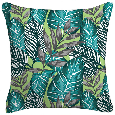 Throw Pillow - Blue Botanical Leaf