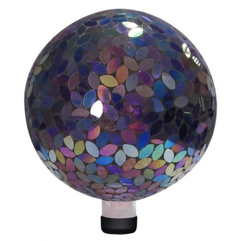 "10"" MOSAIC PURPLE IRRIDESCENT GLASS GAZING BALL"