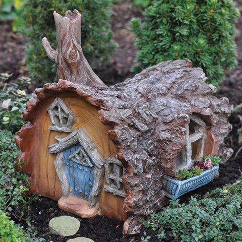 LOG FAIRY HOUSE 6""
